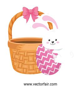 rabbit and cute egg easter decorated with basket wicker