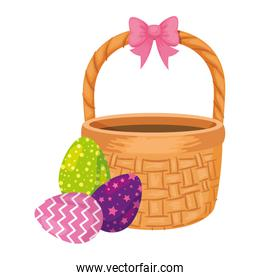 cute eggs easter decorated with basket wicker