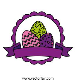 seal lace with set of cute eggs easter decorated and ribbon
