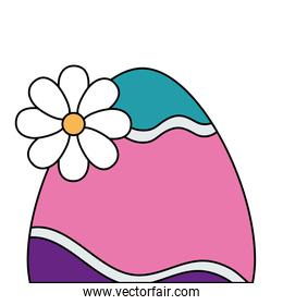cute egg easter decorated with flower
