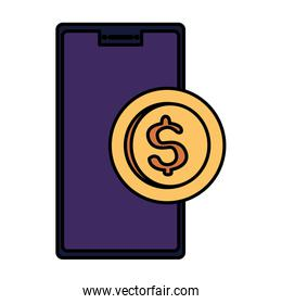 smartphone device with coin isolated icon