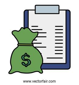 clipboard with paper document and money bag icon over white