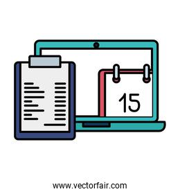 clipboard with laptop and calendar