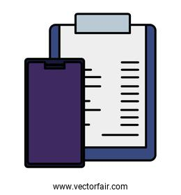clipboard with document and smartphone isolated icon