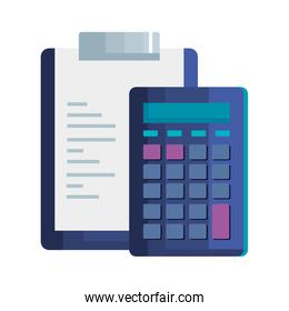 clipboard with paper document with calculator