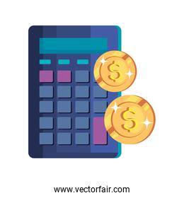 coins money cash with calculator