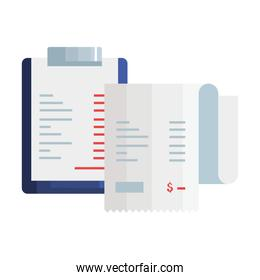 clipboard with paper document and voucher