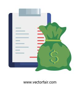 clipboard with paper document and money bag isolated icon