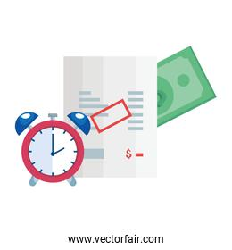 paper voucher with alarm clock and bill cash