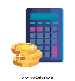 pile coins money cash with calculator