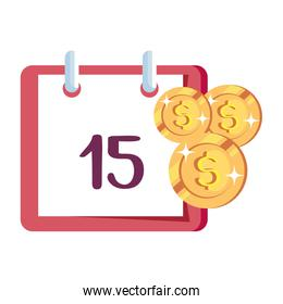 coins money with calendar reminder isolated icon