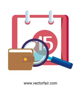 magnifying glass with calendar reminder and wallet over white