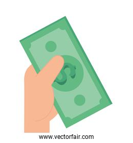 hand with bill money cash isolated icon