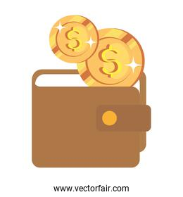 coins cash with wallet isolated icon