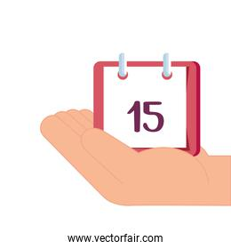 hand with calendar reminder date isolated icon