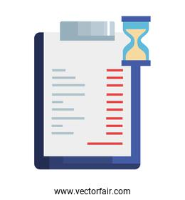 clipboard with paper document and hourglass