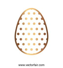 golden egg easter with dots decorated isolated design