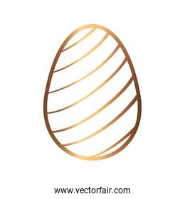 golden egg easter with lines decorated isolated icon