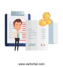 businessman with voucher paper and icons
