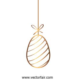 golden egg easter with lines decorated hanging