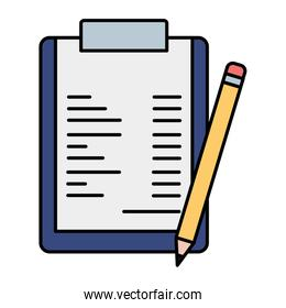 clipboard with paper document and pencil