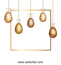 golden eggs easter decorated hanging