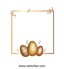 square frame with golden eggs easter decorated