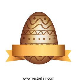 golden egg easter decorated with ribbon