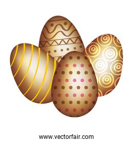 set of golden eggs easter decorated