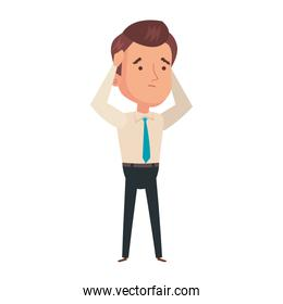 businessman worried avatar character icon