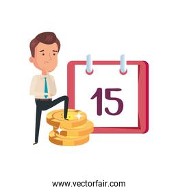 businessman and coins money with calendar reminder
