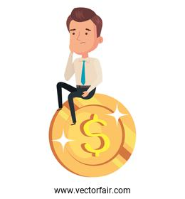 coin money with businessman isolated icon
