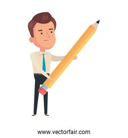 businessman elegant with pencil isolated icon