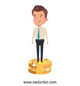 pile coins with businessman isolated icon