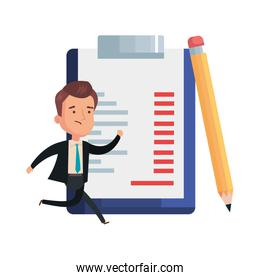 businessman with clipboard document and icons