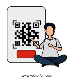 man with qr code isolated icon