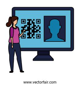 woman and computer with qr code