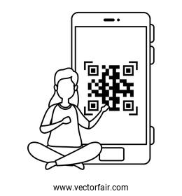 woman and smartphone device with scan code qr