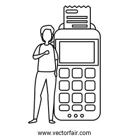 man with dataphone device isolated icon