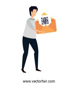 man and envelope with qr code isolated icon