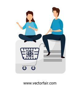 couple with qr code in cart shopping