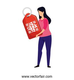 woman and label in qr code isolated icon