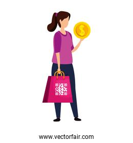 woman and qr code in bag chopping and coin