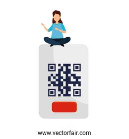 woman with qr code isolated icon