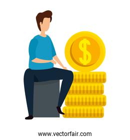 man with coins money cash isolated icon