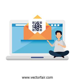 man with qr code in envelope and laptop