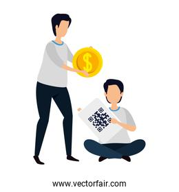 men with qr code and coin