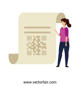 woman and paper with qr code isolated icon