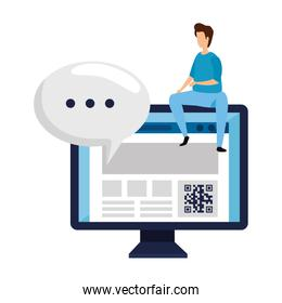 man and computer with qr code isolated icon