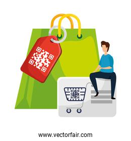 man and qr code with shopping icons